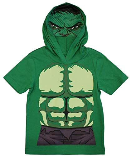 Marvel Avengers Little Boys' Hulk Hooded Tee with Mask (5/6) Green