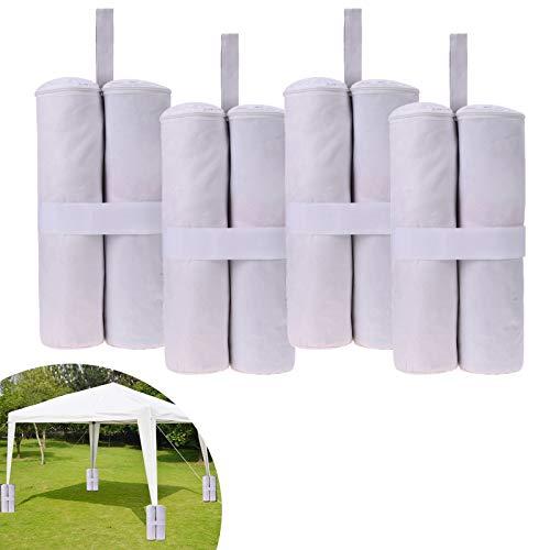 4 borse per il peso di patio ad alte prestazioni, pesi con doppia cucitura per ombrelloni con tenda a baldacchino, ombrello, tasca per i piedi (bianco)