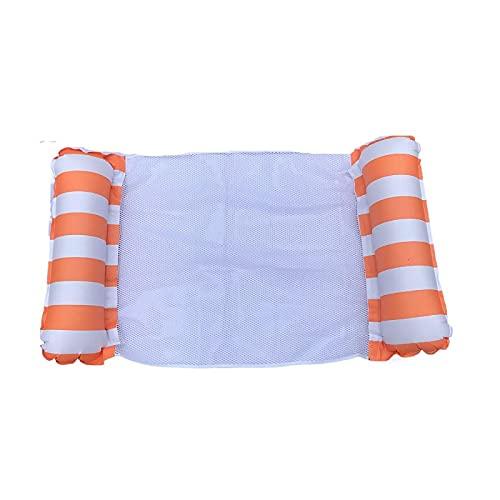 JINZUN Hamaca Inflable de PVC, Drenaje Flotante, Hamaca Superior, sillón, Respaldo de Piscina, Cama Flotante laminada Plegable, Naranja