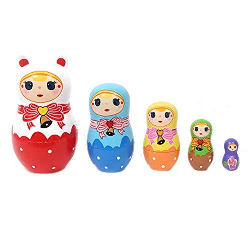 RAILONCH Russland Aus Holz Nesting Puppe 5 Stücken Matroschka Heimtextilien Deko Kunsthandwerkliche Waren