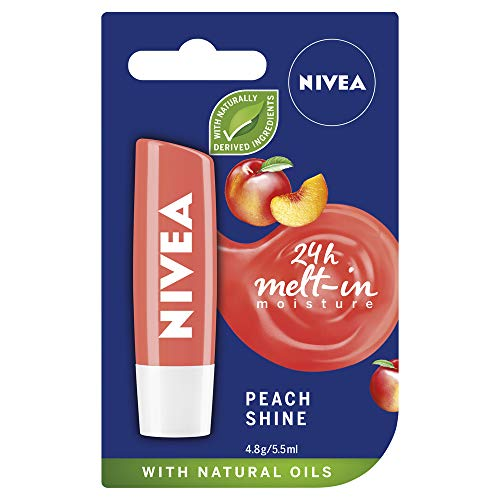 NIVEA Lip Balm, Peach Shine, 4.8g