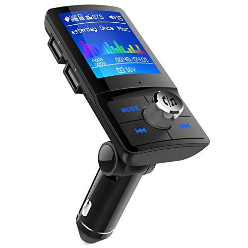 MANLI FM Transmitter Auto Bluetooth, 2020 Upgraded Bluetooth Adapter Radio-Adapter, Farbbildschirm Transmitter, Autoladegerät mit Bluetooth 4.2+EDR, unterstützt USB/TF Carte, Aux