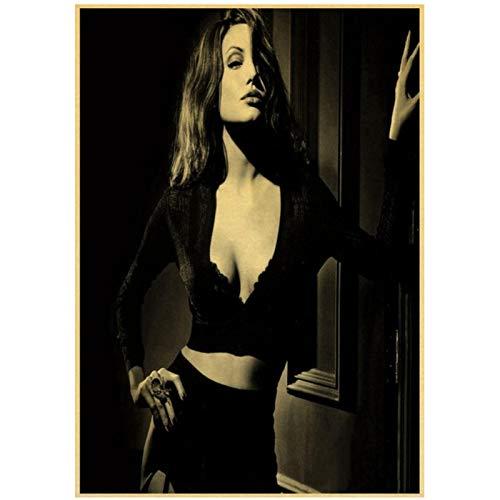Prettygirl Angelina Jolie venenosa Lara CRO Tomb Raider Carteles e Impresiones Vintage Lienzo Pinturas de Arte de Pared para la decoración del hogar de la Sala de Estar -50x75 cm Sin Marco