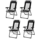 Giantex Set of 4 Patio Dining Chairs, Folding Lounge Chairs with 7 Level Adjustable Backrest, 300 Lbs Capacity, Outdoor Portable Chairs with Metal Frame