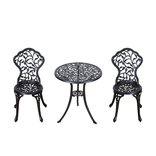 Outsunny 3 Pcs Cast Aluminum Bistro Set 2 Chairs & 1 Table Garden Dining Furniture Set Antique Patio Outdoor Seat