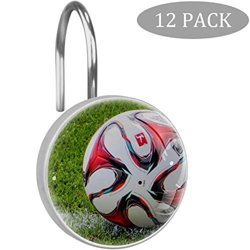 Bennigiry 12 Stück Sport Fußball Duschvorhang-Haken, r&e Kristallglas-Duschvorhänge für Bad & Wohnzimmer, Edelstahl, Multi10, Einheitsgröße