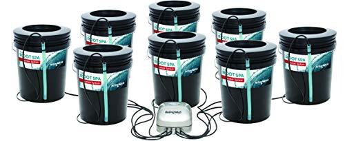 Hydrofarm RS5GAL8SYS Root Spa 8, 5 Gallon Bucket System, Black