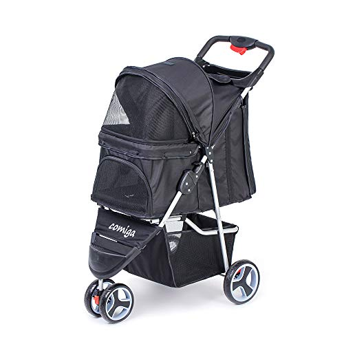 comiga Pet Stroller, 3-Wheel Cat Stroller, Foldable Dog Stroller with Removable Liner and Storage Basket, for Small-Medium Pet,Black