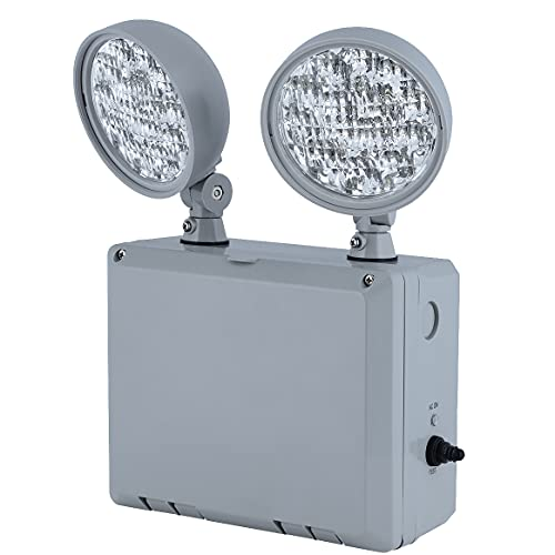 HUBBELL CU2WG Emergency Lights for Power Failure with 2 Adjustable LED Lamp Heads, 90-Minute Run Time, Commercial Grade UL924 Wet Location Remote Capable, 120-277V, Grey