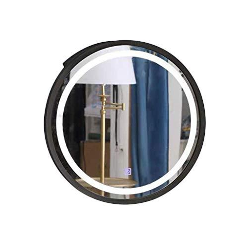 KMMK Espejo de pared, gabinetes con espejo Tocador de baño Led Baño inteligente con luz Espejo de baño Vestidor Madera maciza redondo Montado en la pared,Negro,60 * 60 * 14cm