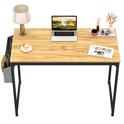 CubiCubi Computer Desk 40' Study Writing Table for Home Office, Modern Simple Style PC Desk, Black Metal Frame, Walnut