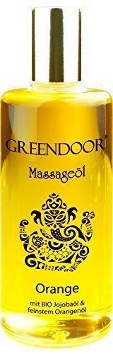 PREISAKTION - Greendoor Massageöl Orange 100ml natürlich rein, BIO Jojobaöl und natur-reines Orangen-Öl, auch als Körperöl, Naturkosmetik für Massage ohne Paraffin, Geschenk