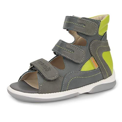 Memo Michael Corrective Orthopedic High-Top AFO Leather Sandal, Grey/Green, 23 (7 M US Toddler)