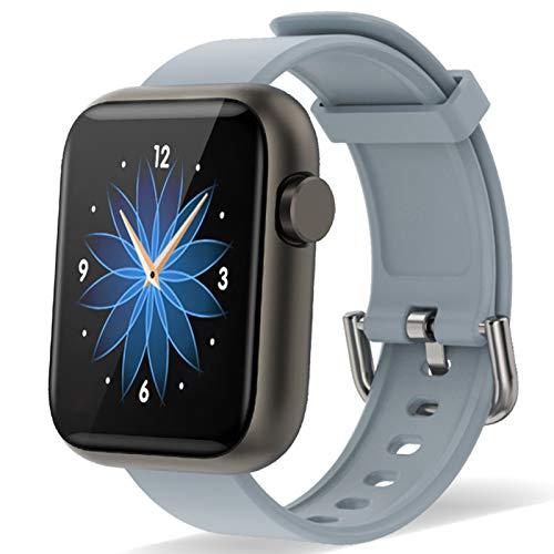 Reloj Inteligente Hombre Mujer, Smartwatch con Cronómetros,Monitor de Sueño,Pulsómetro,Podómetro Monitores de Actividad Impermeable IP67 Reloj Deportivo para Android iOS (Gris)