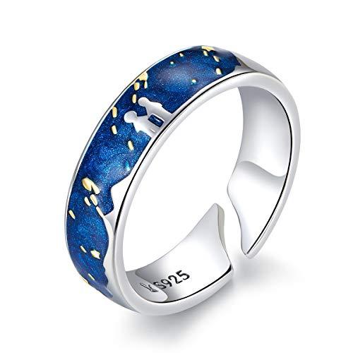 NewL Anillos de plata de ley 925 para parejas, cielo estrellado azul de Van Gogh, diseño de anillo de dedo abierto accesorios de joyería