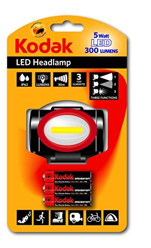 KODAK 30413870 - Linterna frontal 300 LED, plástico y metal, 5 W, color negro
