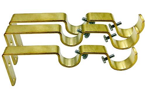 Double Curtain Rod Hanging Brackets Havy Duty 3Pcs-Gold