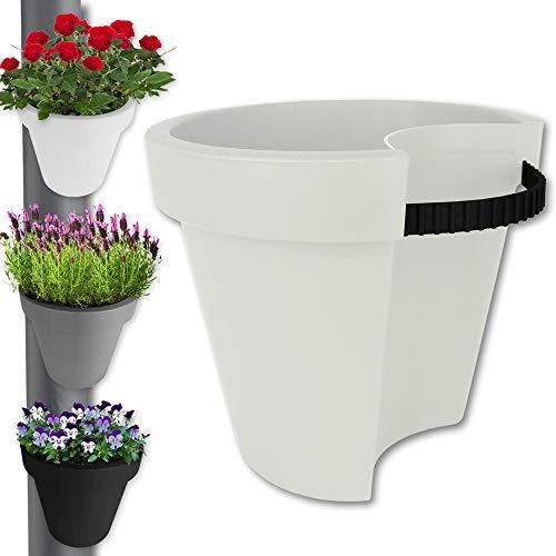 TW24 Pflanztopf - Pflanzkübel - Hängetopf - Balkontopf - Pflanzgefäß - Blumentopf Regenrohr mit Farbauswahl (Creme)