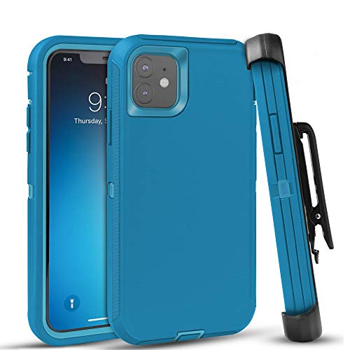 FOGEEK Case for iPhone 11, Heavy Duty Rugged Case, Belt Clip Holster Kickstand Protective Cover [Shockproof] Compatible for iPhone 11 [6.1 inch] (Tea Blue/Light Blue)