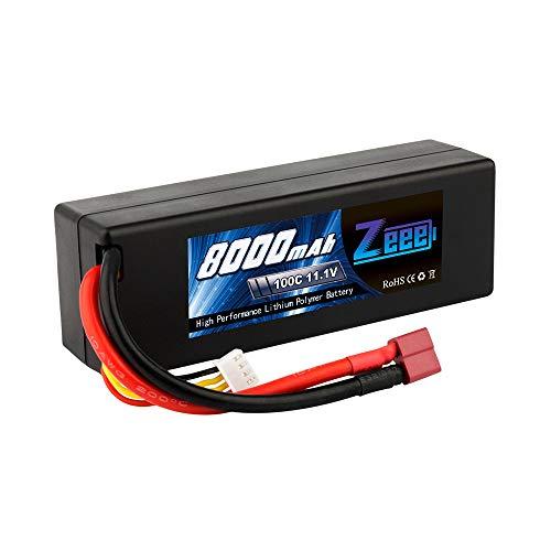 Zeee 8000mAh 11.1V 100C 3S RC Lipo Battery with Deans T Plug for 1/8 1/10 RC Car Model Traxxas Slash Buggy Team Associated