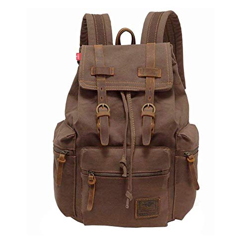 P.KU.VDSL Canvas Rucksack 15L Mochila Tipo Casual, 42 cm, 15 Liters, Marrón (Kaffee)