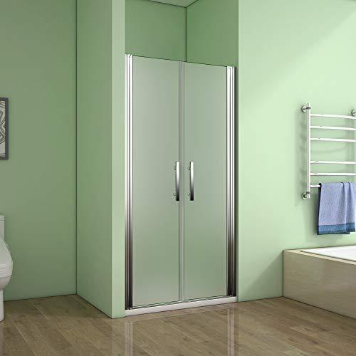 AICA Porte de douche 80x185cm porte battante verre satiné et anticalcaire porte battante en niche