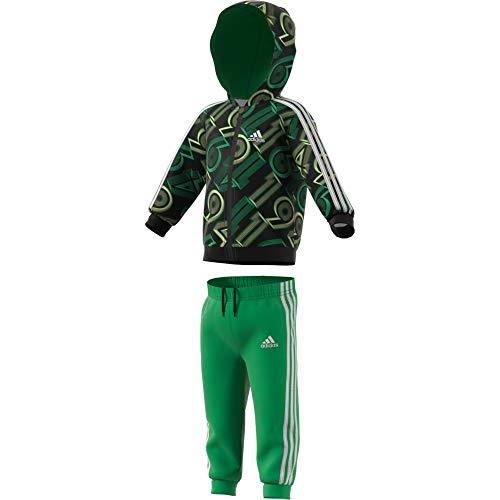 adidas GM8954 I Shiny 49 Jog Tuta da Ginnastica Unisex - Bimbi 0-24 Top:Vivid Green/Black/White Bottom:Vivid Green s21/white 3-4A
