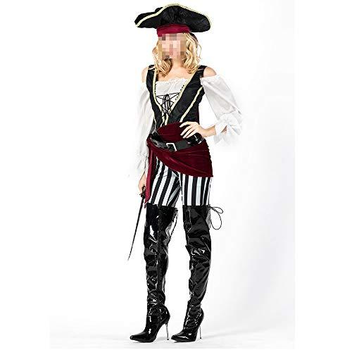 Disfraz Halloween, Carnaval Disfraz Cosplay para Disfraz Halloween Cosplay,Disfraz De Pirata Femenino Disfraz De Pirata Adulto Disfraz De Caballero Cos De Halloween