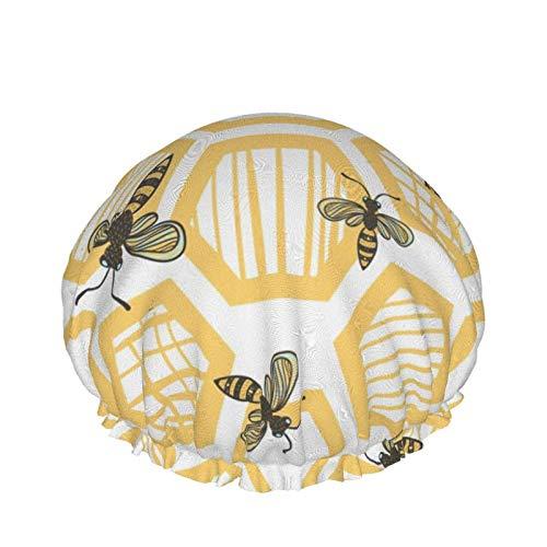 Gorro de ducha para mujer, pelo largo, abejas y panales, impermeable, reutilizable