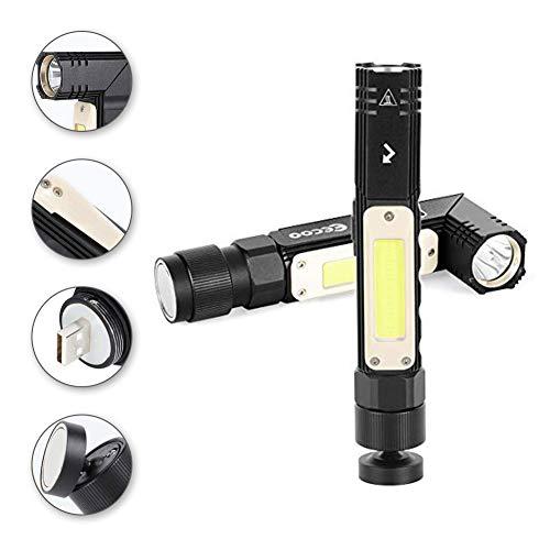 LED Taschenlampe, 800 Lumen Taktische Taschenlampe Superhelle, 5 Modi, 90 Grad Drehbares Kopf Mini Taschenlampe IP65 Wasserdichte USB Wiederaufladbar LED Taschenlampen für Camping, Outdoor, Wandern