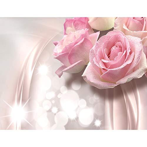 Fototapete Blumen 3D Rose Grau Vlies Wand Tapete Wohnzimmer Schlafzimmer Büro Flur Dekoration Wandbilder XXL Moderne Wanddeko Flower 100% MADE IN GERMANY - Runa Tapeten 9129010b