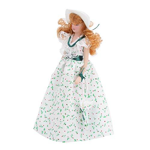 Muñeca de porcelana en miniatura, elegante modelo de muñeca de porcelana a escala 1:12, almacenamiento conveniente para niñas, niños, regalos para niños