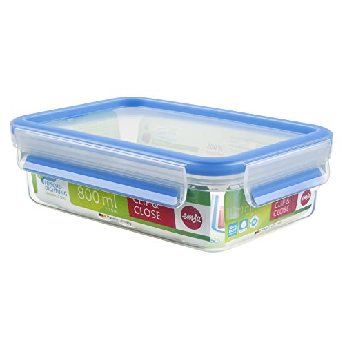 Emsa 508539 Rechteckige Frischhaltedose mit Deckel, 0.8 Liter, Transparent/Blau, Clip & Close