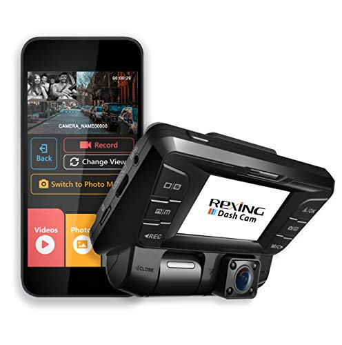 Rexing V2 Front + Back Dual Camera 1080p Full HD Wi-Fi Ultra Wide Angle LCD Screen Infrared Night Vision Car, Uber, Taxi Dash Cam Audio Cameras Car On-Dash
