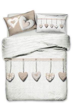 Smartsupershop Parure de lit 2 places : couvre-lit d'été + parure de lit en coton avec cœurs suspendus, couleur beige