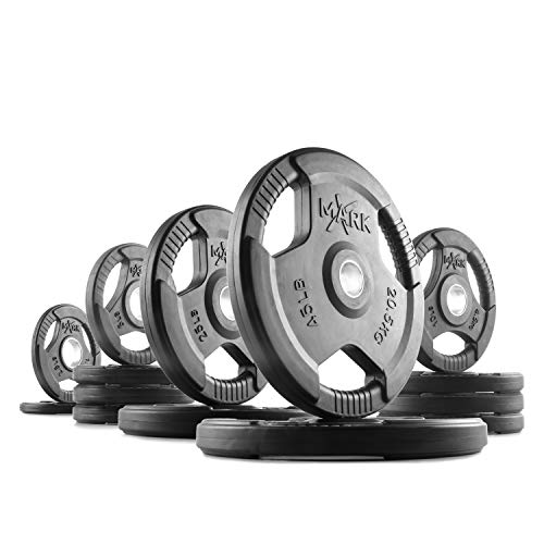 XMark TRI-Grip 205 lb Set Olympic Plates, One-Year Warranty, Olympic Weight Plates, Classic Design, Rubber Coated Olympic Weight Plate Set, Olympic Barbell Weight Set for Home