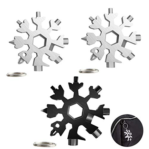 Snowflake Multi Herramienta 18 en 1, 3 piezas Herramienta multiherramienta con llavero, copo de nieve, destornillador de bicicleta, llave Allen abridor de botellas para viajes al aire libre(3 piezas)