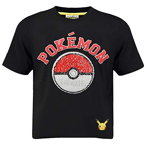 Pokémon Zwei-Wege-t-Shirt Für Jungen Mit Pailletten Und Pokeball Schwarzes Baumwolltop Mit Umgekehrten Paillettenmotiven Und Geprägtem Logo | Tolle Geschenkidee Für Kinder & Jugendliche (4/5 Jahre)