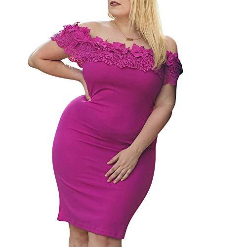 PYL Vestido Corto de Encaje Floral de tamaño Grande para Mujer, Sexy, sin Hombros, para cóctel, Boda,…