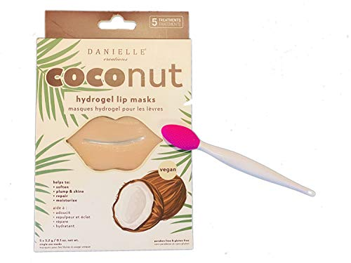 Danielle Creations Coconut Hydrogel Lip Masks! Hydrating Lip Mask and Lip Scrubbing Brush! Helps to Soften, Plump, Moisturize and Repair Lips! Choose Your Lip Care! (Coconut)