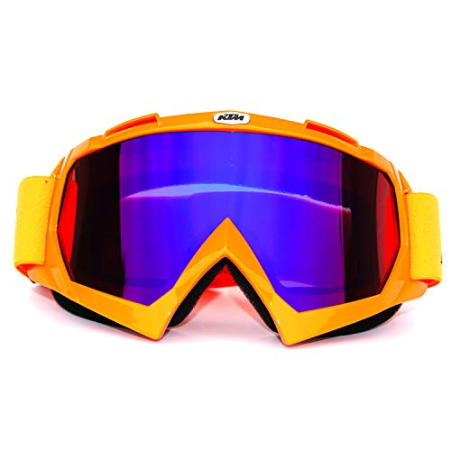 ATV Cycling Goggles Motorcross Motorcycle Safety Glasses Goggle for Women Men Bendable Anti-refllection Dustproof Soft Sponge Padded Snowboard Ski Goggle Dirtbike Youth Orange Tinted Lens KG9