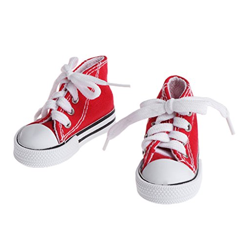 Lamdoo Puppe Schuhe 1/4Zubehör Leinwand Fashion Sommer Toys Mini Sneakers Denim Stiefel, Canvas, Rot, 7,5 cm