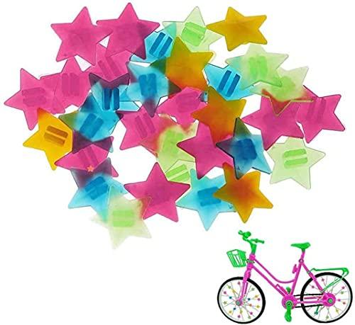 AIlysa 72 Stück Bunten Fahrradspeichen-Dekorationen, Fahrrad-Clip, Speichenklicker Speichenclips Speichenreflektoren Kinder Fahrrad Zubehör, Fahrrad Rad Speichen Perlen (Pentagramm-Perlen)