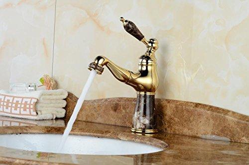 Bijjaladeva Wasserhahn Bad Wasserfall Mischbatterie WaschbeckenDas Kalte Wasser Ballon Shampoo grüne Jade Marmortisch Becken Voll Kupfer Gold Waschtisch Armatur mit Schwarzer Jade