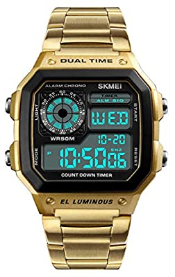 Men's Fashion Trend Gold Multi-Function Waterproof Watches LED Digital Chronograph Stainless Steel Square Watches (Gold)