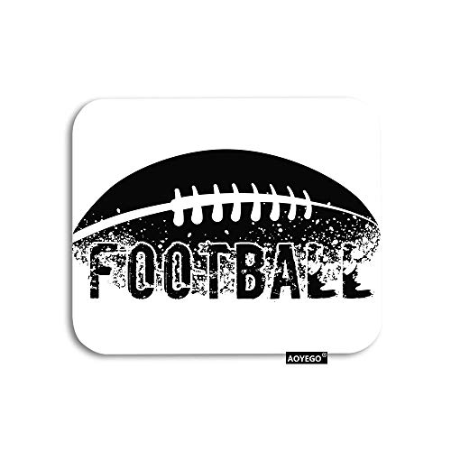 AOYEGO Football Mouse Pad Silhouette of American Soccer Dirt Splatter Doodle Gaming Mousepad Rubber Large Pad Non-Slip for Computer Laptop Office Work Desk 9.5x7.9 Inch