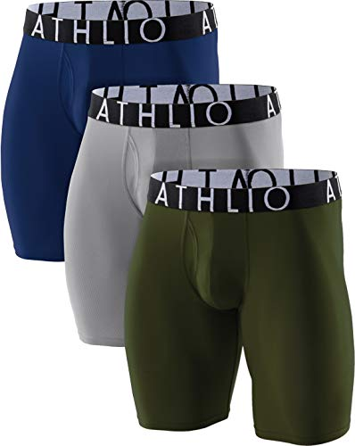ATHLIO Men's Breathable Underwear, Performance Cooling Mesh Boxer Briefs, Open Fly Trunks with Pouch, Fly 9inch 3pack(ubf09) - Navy/Green/Lightgrey, Large