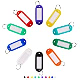 100 PCS Plastic Key Tags, Label Window with Rotating Split Ring, Key ID Tags for Name Tag, Key Chain Tag,...