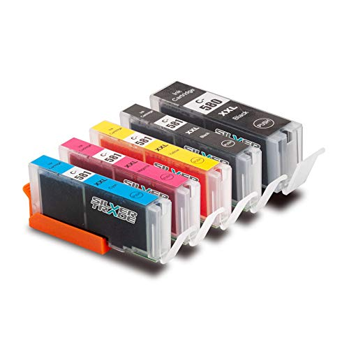 5 Druckerpatronen kompatibel für Canon CLI-581XXL PGI-580XXL schwarz blau rot gelb Pixma TR7550 TR8550 TS6150 TS6151 TS6240 TS6250 TS6251 TS8150 TS8151 TS8240 TS8241 TS8250 TS8251 TS9150 TS9155 TS9550