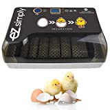 EZ.SIMPLY Egg Incubator - All-in-One Egg Incubator for Hatching Eggs with Automatic Egg Turning, Heat and Humidity Control - Chicken Egg Incubator - with LED Egg Candler